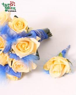 Butonjerė iš kreminės rožės