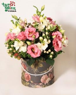 Eustomų ir frezijų gėlių dėžutė