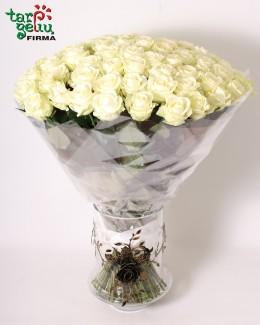 Baltų rožių puokštė HARMONIJA