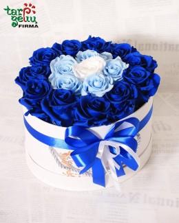 Miegančių rožių dėžutė AQUA BLUE
