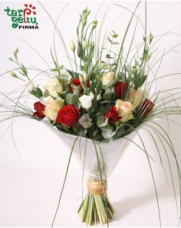 """Rožių ir eustomų puokštė """"Serenada"""""""
