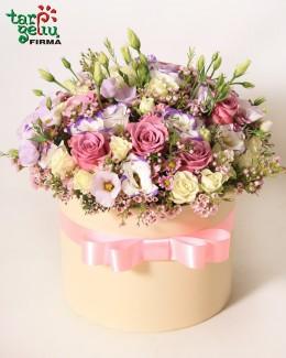 Цветы в коробке РОМАНТИКА