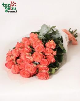 Букет из розовых роз ДУЕТ