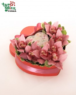 "Box with orchids ""Heart"""