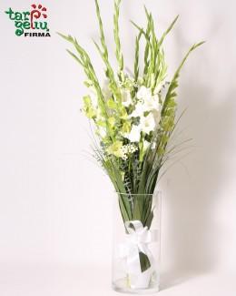 Bouquet of white Gladioli
