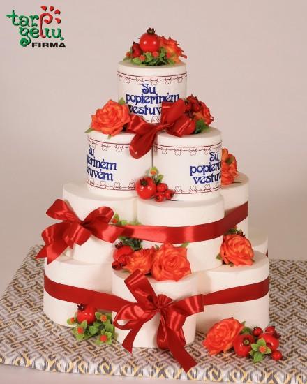 Popierinių vestuvių tortas