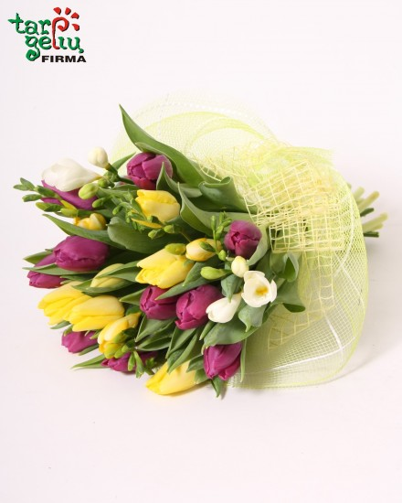 Tulpių ir frezijų puokštė