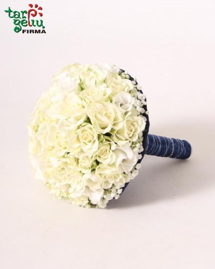 Vestuvinė puokštė iš rožių BLUE & WHITE