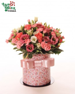 Rožinė gėlių dėžutė