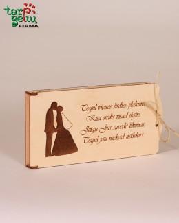 Vestuvinis vokelis pinigams su sveikinimu