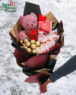Valentino saldainių puokštė