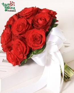 Raudonų rožių vestuvinė puokštė