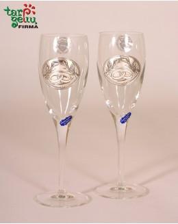 Vestuvinės taurės su žiedais