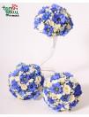 Mėlynos pamergių puokštės