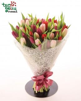 Красочный букет из тюльпанов