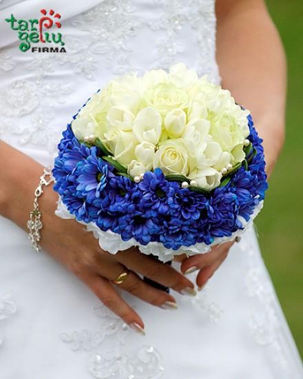 MĖLYNA BALTA vestuvinė puokštė