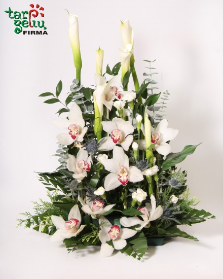 Funeral arrangement with orchids