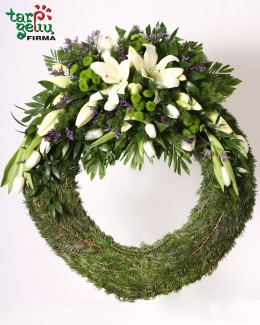 Funeral wreath of lilies and tulips
