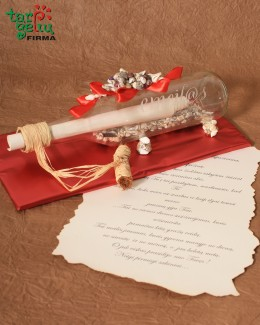 Romantic letter in the bottle