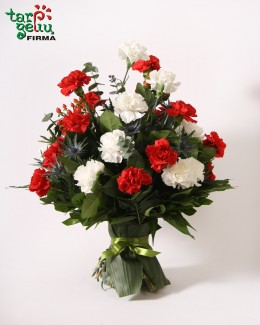 Bouquet of Red and White Carnations